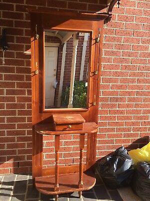 Lovely Colonial Vintage Hall Stand with mirror Timber