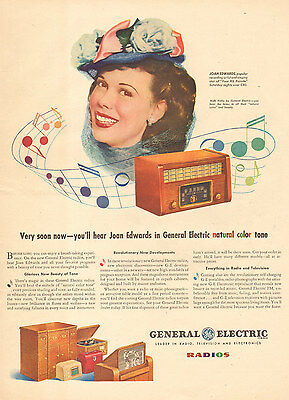 1945 print AD Singer Joan Edwards on GE RADIOS phonographs televisions 021217