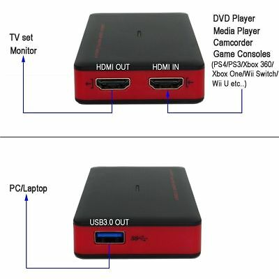 EZCAP USB 3.0 HD Video Capture Card HDMI-IN Game Capture Recorder Live Streaming