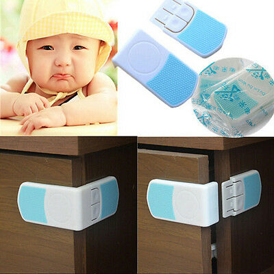 1/2/4X Kid Baby Cupboard Cabinets Doors Right Angle Safety Drawer Lock Latches &