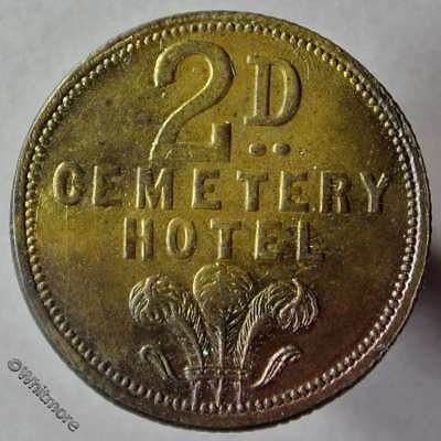 Sheffield Pub / Inn Token Cemetery Hotel Prince of Wales plumes depicted 2D