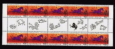 Mint 2002 Xmas Island Lunar Year Of The Horse Gutter Block Of 10 Muh