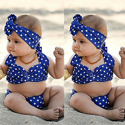 Cute Toddler Baby Girl Dots Bikini Set Swimmable Swimwear Swimsuit Beachwear US