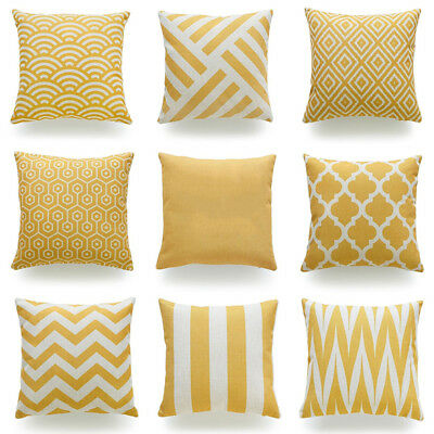 Throw Pillow Case Mustard Yellow Fabric Cotton Linen Cushion Cover Home Decor WY