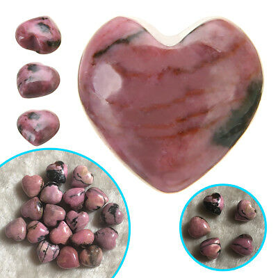 Natural Love Heart Shaped Rhodochrosite Stone Crystal Healing Gemstone Rock Gift