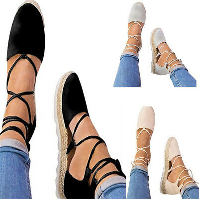 Womens Summer Strappy Flat Canvas Wedge Casual Espadrilles Sandals Pumps Party