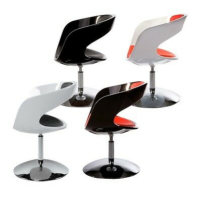 Armchair rotating base stand black red white design 70's space age