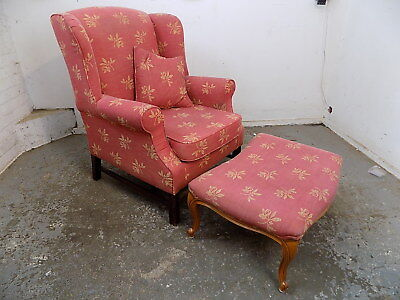 victorian,style,wing back,arm chair,red fabric,square legs,chair,foot stool