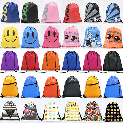 Boys Girls School Drawstring Bag Sport Gym Sack Swim PE Kit Shoe Sports Backpack