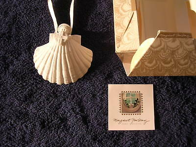 "1993 Margaret Furlong Cross Angel 4"" Shell Angel Bisque Christmas Tree Ornament"