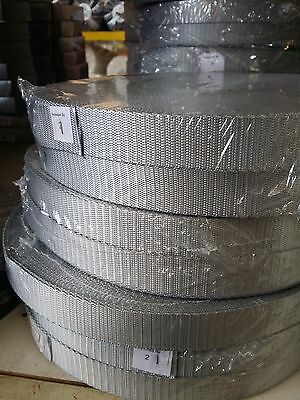 25mm GREY / SILVER High Quality Terylene Webbing Strapping 1 - 25 Metre Lengths
