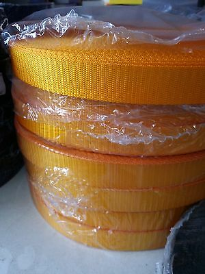 25mm ORANGE / GOLD High Quality Terylene Webbing Strapping 1 - 25 Metre Lengths