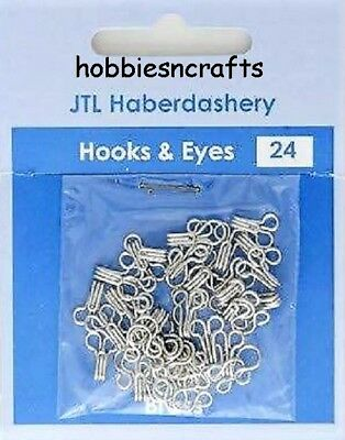 Jtl202 - Pack Of 24 Sets Of Silver Hooks & Eyes Size 1 - Sent 1St Class Mail