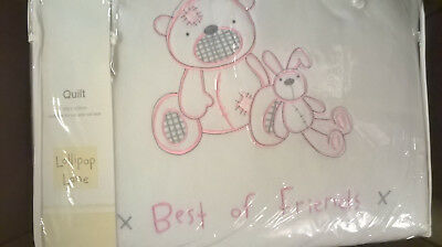 Brand New Lollipop Lane Pink Teddy Best Friends Quilt for Cot/Cotbed 100x120cm
