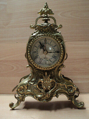 Ormolu Mantle clock, Gold, Gilt, Quartz, Working order, Good for housing