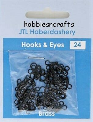 Jtl207 - Pack Of 24 Sets Of Black Hooks & Eyes Size 3 - Sent 1St Class Mail