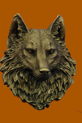 Celtic Moon Wolf Hot Cast Bronze Sculpture Hot Cast Figure HandMade Wall Mount