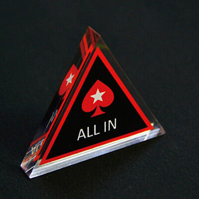 Brand New ALL IN Button Acrylic Triangle PokerStars Dealer for Poker Cards 2018