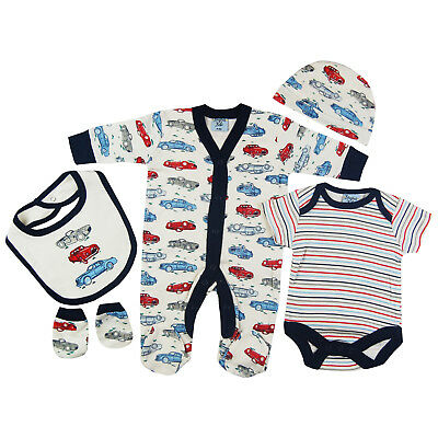 Baby Boys Blue Cars 5 Piece Multipack Outfit Gift Set Babygrow Bodysuit Bib Hat