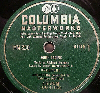 "MARY MARTIN & ENZIO PINZA ""South Pacific"" Columbia 1949  6 record-set 78rpm 10"""