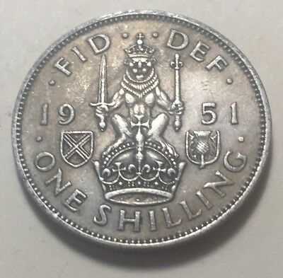 Great Britain (UK) 1951 One Shilling (Scotland Version) Coin - King George VI