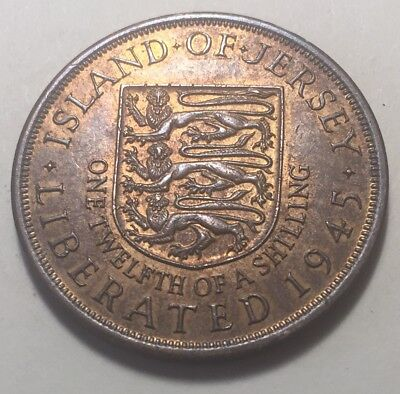 Jersey 1945 (1/12th of a Shilling) One Penny Coin - King George VI