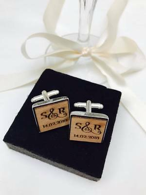 Personalised Initials Wooden Square Cufflinks Engraved. Groom, Gift, Wedding