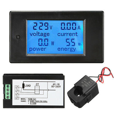 100A AC260V Digital Watt Power Energy Meter Current Tester Volt Meterr with Open