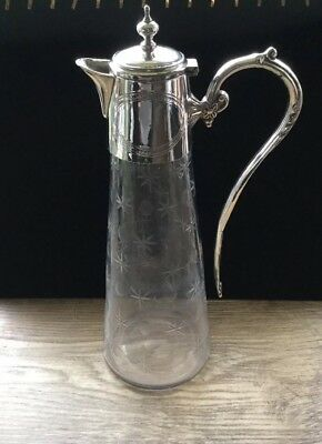 Silver Plate Etched Glass Claret Jug