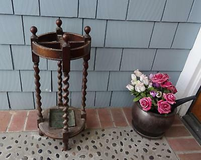 1880s VINTAGE ANTIQUE ORIGINAL WOOD UMBRELLA WALKING STICK CANE STAND ROUND 28""