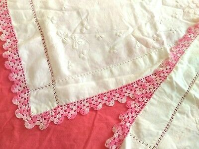 ANTIQUE VINTAGE Irish LINEN Pillowcases HAND MADE Embroidered, Lace drawn thread