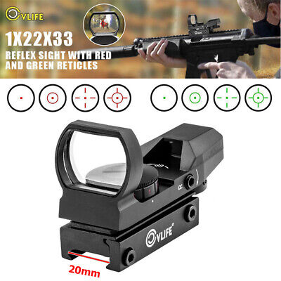 CVLIFE 1X22X33 Red Green Dot Gun Sight Scope 4 Reticle Reflex Sight w/ 20mm Rail