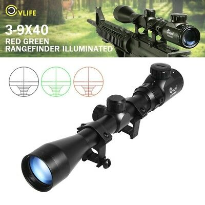 CVLIFE Gun Rifle Scope 3-9X40 Red Green Illuminated Optics Hunting + 20mm Mounts
