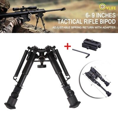 CVLIFE 6-9 Inches Tactical Gun Rifle Bipod Adjustable Spring Return w/ Adapter