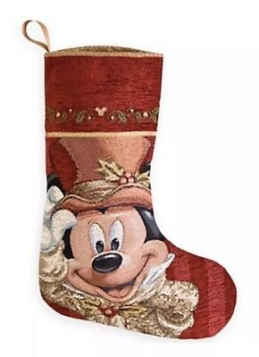 Disney Parks Christmas Holiday Stocking Victorian Mickey Mouse Face NWT