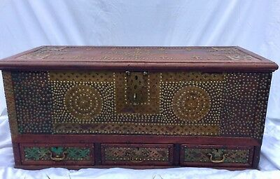 Genuine Antique African Zanzibar Teak Mule Chest Trunk Secret Draw Storage 1880s