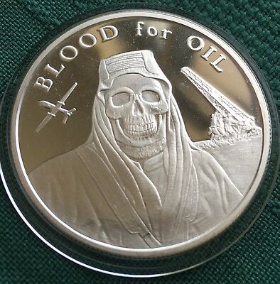 1 oz 2017 Blood for Oil BU - Death of the Dollar # 4 Silver Shield SSG 999 AG