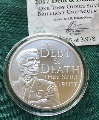 1 oz 2017 Debt and Death V4 BU - Death of the Dollar # 6 with COA Silver Shield