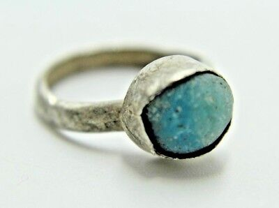 Ancient Beautiful Roman Silver Ring With Blue Stone.    2V165