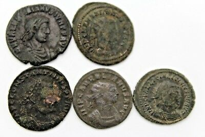 LOT OF FIVE LATER ROMAN IMPERIAL COINS. FOR CLEANING.    1v734