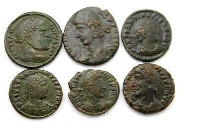 LATER ROMAN IMPERIAL AE FOLLIS. LOT OF SIX.  1v726
