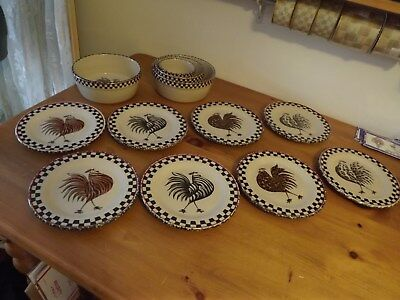 Rare Henn Pottery Roseville Spongeware Roosters Black Checks 8 Pc Available