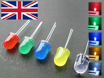 10mm LED green blue white yellow red Diffused High Brightness Diode 10-100pcs UK