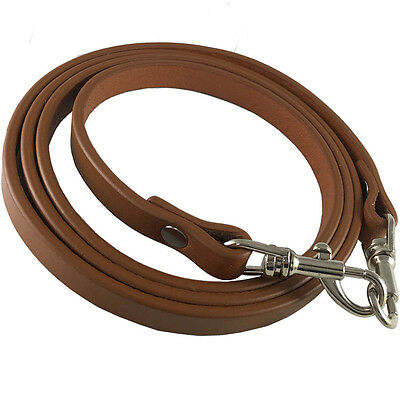 """AS IS 3/8"""" British Tan Top Grain Leather Skinny Cross Body Replacement Strap"""