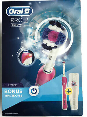 ORAL B PRO 2500 pink +3D WHITE Rechargeable Toothbrush +bonus travel