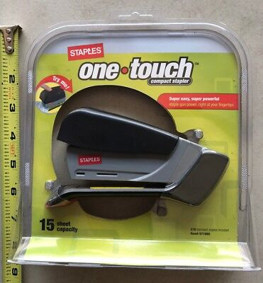 Staples One Touch Compact Stapler - 15 Sheet Capacity / New
