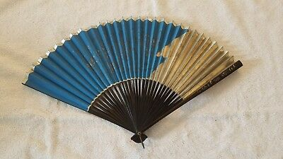 Antique hand painted japanese fan rice paper bamboo