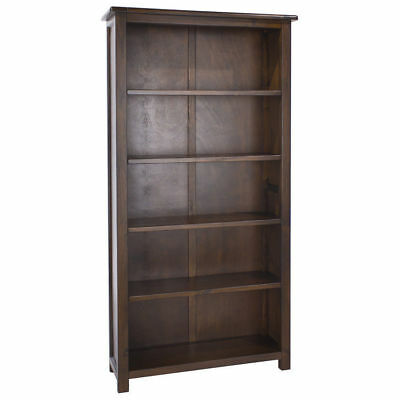 Bookcase Dark Wood Large Tall Wide Adjustable Shelves Boston Range Living Room
