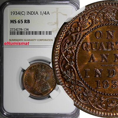 India-British George V Bronze 1934 (C) 1/4 Anna NGC MS65 RB NICE RED KM# 512