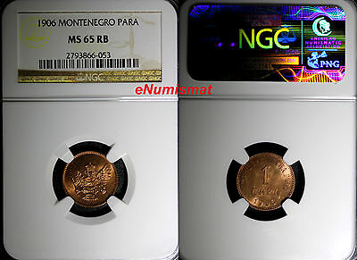 Montenegro Nicholas I Bronze 1906 1 Para NGC MS65 RB RED-BROWN KM# 1